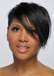pic of black women side swept bangs and bun hairstyle black short hairstyles with side swept bangs african american