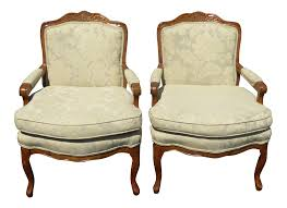 vintage french provincial carved wood off white floral chairs a