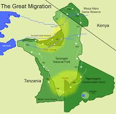 Map Of Eastern Africa by Map Of Wildebeest Migration In The Serengeti And Masai Mara