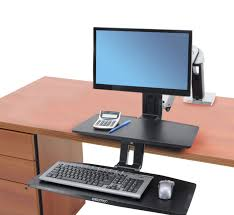 How To Lock A Laptop To A Desk by Stand Up Workstation Workfit A Desk W Suspended Keyboard Ergotron
