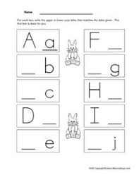 writing upper and lower case letters a through j pre k