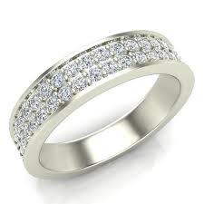 5mm diamond men s diamond wedding band 0 75 ctw two row half way men s 14k gold
