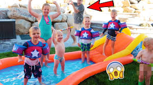 backyard water park slip n slide party youtube