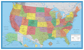 Map Of The United States And Mexico by Amazon Com 24x36 United States Usa Classic Elite Wall Map Mural