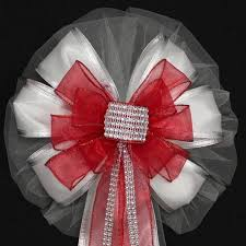Wedding Pew Decorations Red Bling Glitter And White Wedding Pew Bows Church Aisle