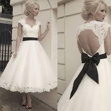retro wedding dresses retro tea length wedding dresses with black sashes sweetheart cap