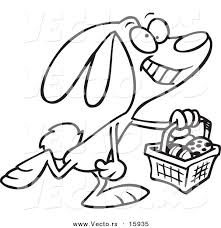 vector of a cartoon happy easter bunny carrying a basket