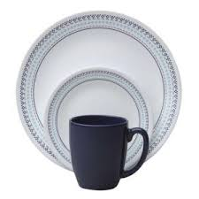 corelle folk stitch 16 vitrelle dinnerware set 1109599 the