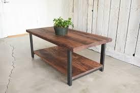 black brown coffee table industrial reclaimed wood coffee table lower shelf what we make
