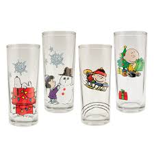 christmas glasses brown christmas glasses featuring peanuts characters