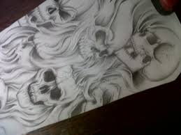skull and smoke sleeve designs create a for me