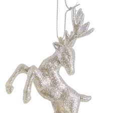 Glitter Reindeer Christmas Decorations by Set Of Two Hanging Silver Glitter Reindeer Christmas Decorations
