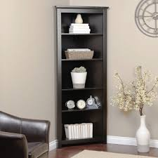 Corner Bookshelf Ideas Interior Tall Black Corner Bookcase With 5 Shelves Elegant Modern