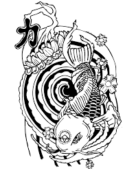 sweet drawn panda head and koi fish tattoo design by quan art