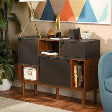 Home Design Products Anderson by Baxton Studio Harding Wood Shoe Storage Cabinet In Dark Brown