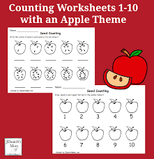 worksheets 1 10 with an apple theme