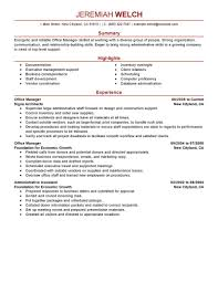 Job Resume Outline by Best Office Manager Resume Example Livecareer