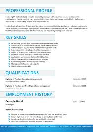Resume Key Skills Examples Sample Resume Format For Hotel Industry Resume For Your Job