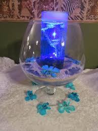 Lights In Vase Sand Centerpeice With Blue Waterproof Light In Inner Vase