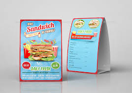 Table Tents Template Sandwich Restaurant Table Tent Template By Owpictures Graphicriver