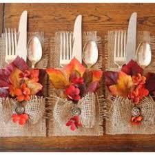 fall burlap silverware holders leaves flowers set by crafteacafe