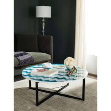 safavieh alec coffee table medium oak blue coffee tables accent tables the home depot