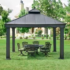 exterior hardtop gazebo with wrought outdoor furniture