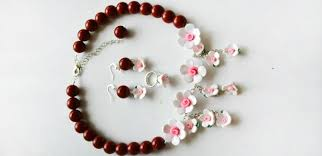 flower bead necklace images How to make elegant polymer clay flower bead jewelry set with red jpg