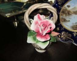 capodimonte basket of roses vintage capodimonte etsy