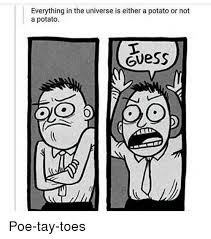 I Guess Meme - everything in the universe is either a potato or not a potato