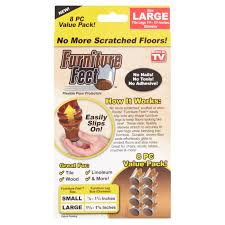 Plastic Chair Feet Inserts by Furniture Feet Large Flexible Floor Protectors Value Pack 8 Count