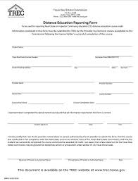 distance education reporting form trec