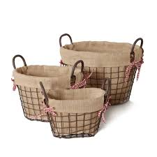 Home Decor Baskets Adeco Oval Rustic Vintage Inspired Iron Baskets Handles Burlap