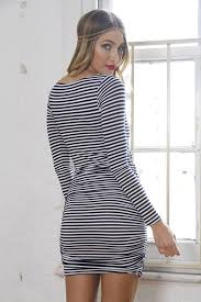 navy and white stripe long sleeve wrap dress