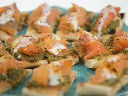 cuisine canapé smoked salmon canape with green olive grapefruit tapenade recipe