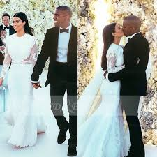 long sleeve lace mermaid wedding dresses 2016 jewel appliques