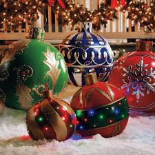 christmas outdoor decorations outdoor lighted ornaments the green