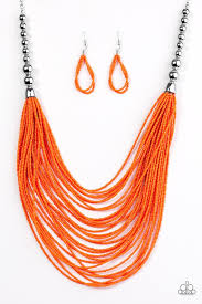 orange bead necklace images Paparazzi accessories bead brave orange jpg