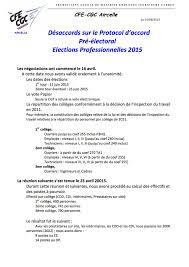 calcul repartition sieges elections professionnelles désaccord sur le protocol d accord pré électoral elections