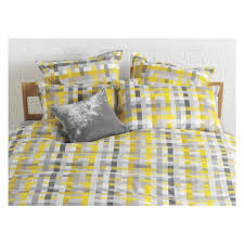 pixelate grey and yellow patterned jacquard double duvet cover