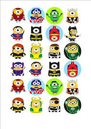minions cake toppers 24 x minions superheroes fairy cake toppers printed on