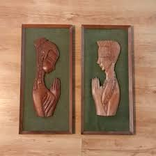 vintage carved wood framed wall plaques pair