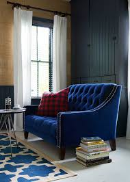 Sofas U Love by Our Stunning Lincoln Tufted Midcentury Love Seat With Blue Velvet