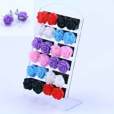 plastic stud earrings free shipping hot selling korea design cheap resin flower
