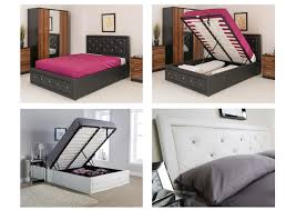 crystal ottoman storage bed double 4ft6 or kingsize 5ft black