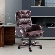 Luxury Leather Office Chairs Uk Homcom Pu Leather Luxury Executive Swivel Office Chair Brown