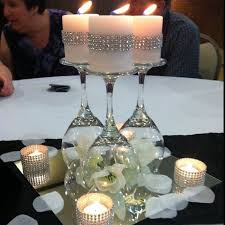 diy wedding centerpieces impressive diy wine glasses on a mirror wedding table centerpiece