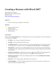 Action Words Resume How To Create A Resume On Word 2007 Free Resume Example And