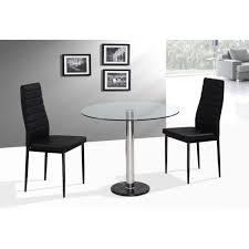 Space Saving Dining Table Dining Room Round Glass Space Saving Table With Chrome Pedestal