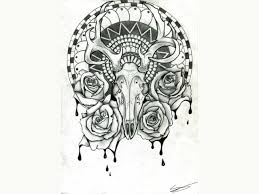 deer skull frame tattoo design photos pictures and sketches